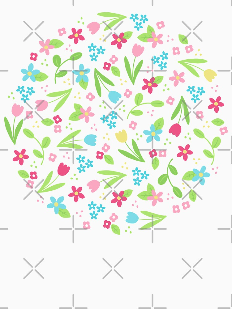 Spring Flowers Pattern on white background by HazelFisher
