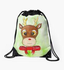 Christmas Rudolph Reindeer  Drawstring Bag