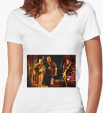 Rock Band on Stage. Women's Fitted V-Neck T-Shirt