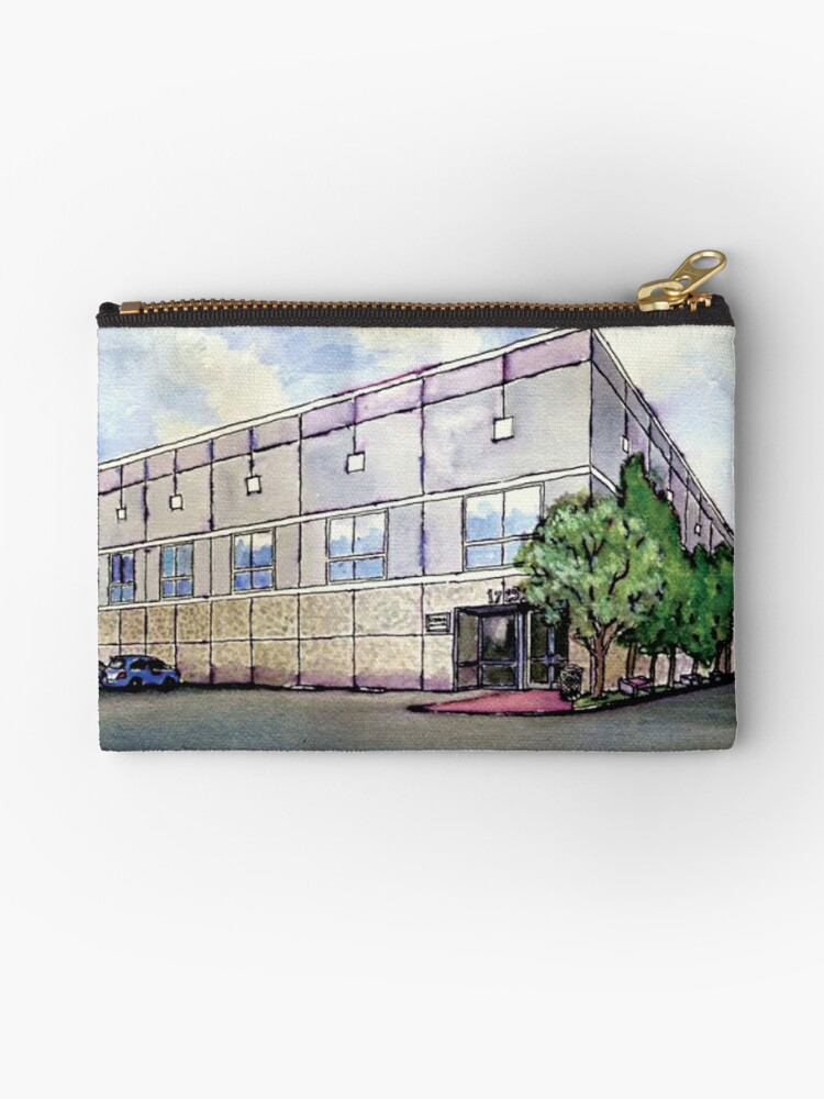 1cf16ab11ce6 'Pam Beesly Office Building Watercolor Painting Poster Dunder Mifflin Paper  Company Inc. Gift' Zipper Pouch by MyPartyShirt