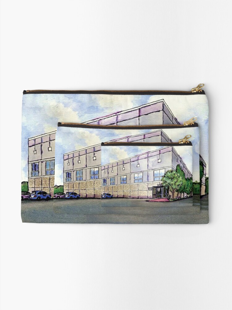 a73f24b30e27 Pam Beesly Office Building Watercolor Painting Poster Dunder Mifflin Paper  Company Inc. Gift | Zipper Pouch