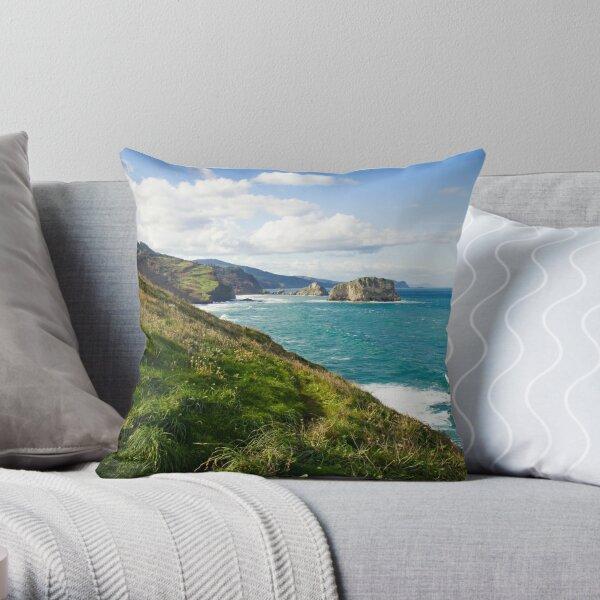 Basque Country coast landscape Throw Pillow