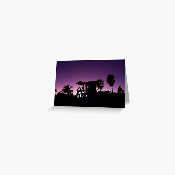 Baywatch tower silhouette sunset Greeting Card