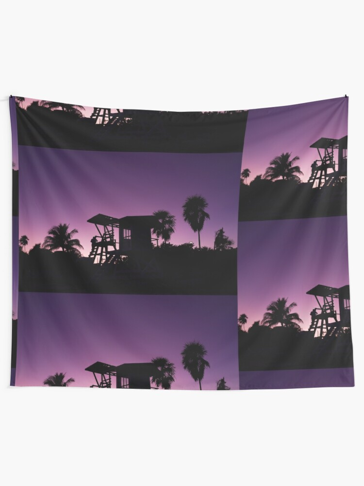 Alternate view of Baywatch tower silhouette sunset Tapestry