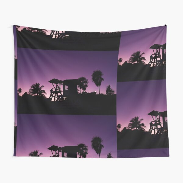 Baywatch tower silhouette sunset Tapestry