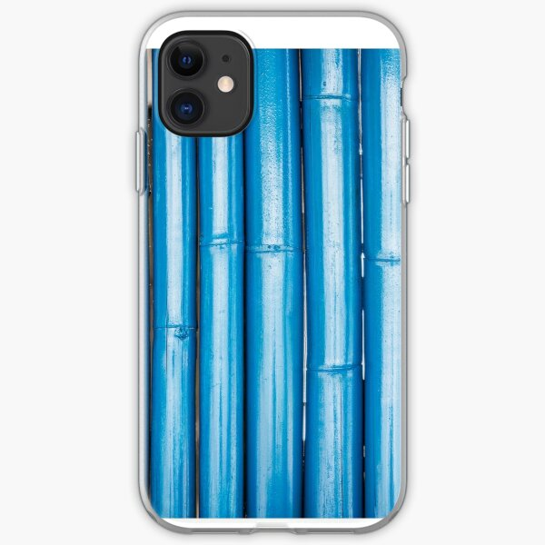 Blue bamboo canes background iPhone Soft Case