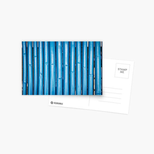 Blue bamboo canes background Postcard