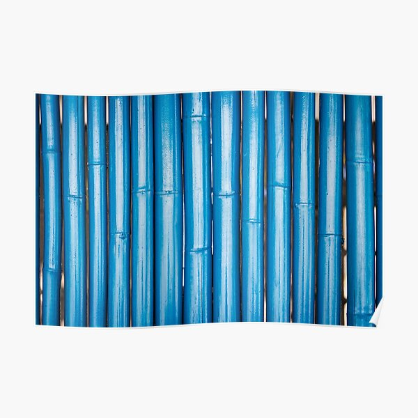 Blue bamboo canes background Poster
