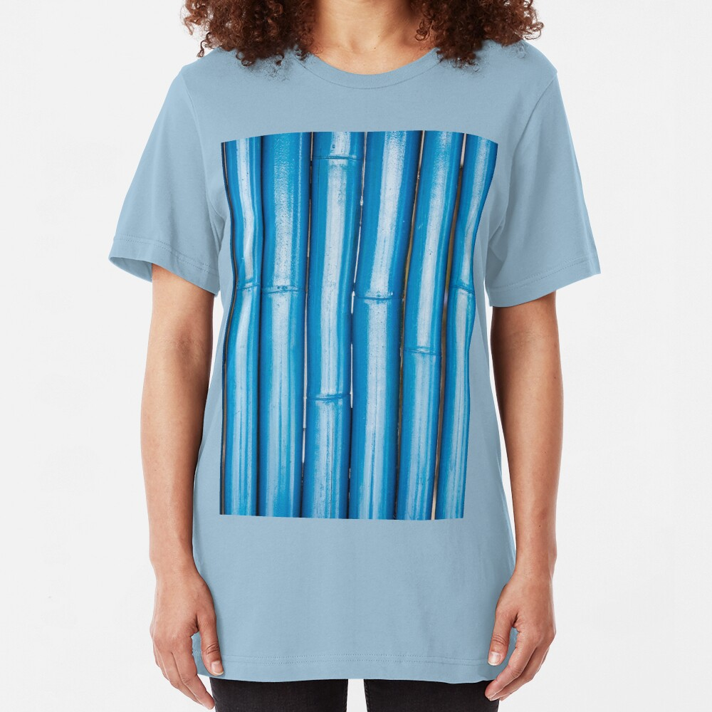 Blue bamboo canes background Slim Fit T-Shirt