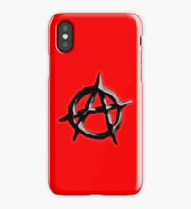 ANARCHY, ANARCHIST, Politics, Revolution, Protest, Disorder, Unrest, Symbol on red in black iPhone Case