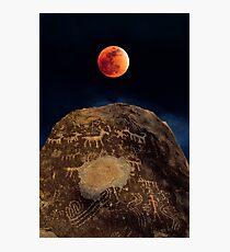 Super Blue Blood (Sailor) Moon over Petroglyph Point Photographic Print