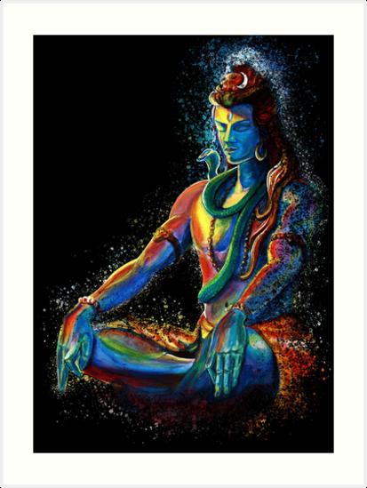 Eternal lord shiva in meditation art prints by a little - Meditation art wallpaper ...