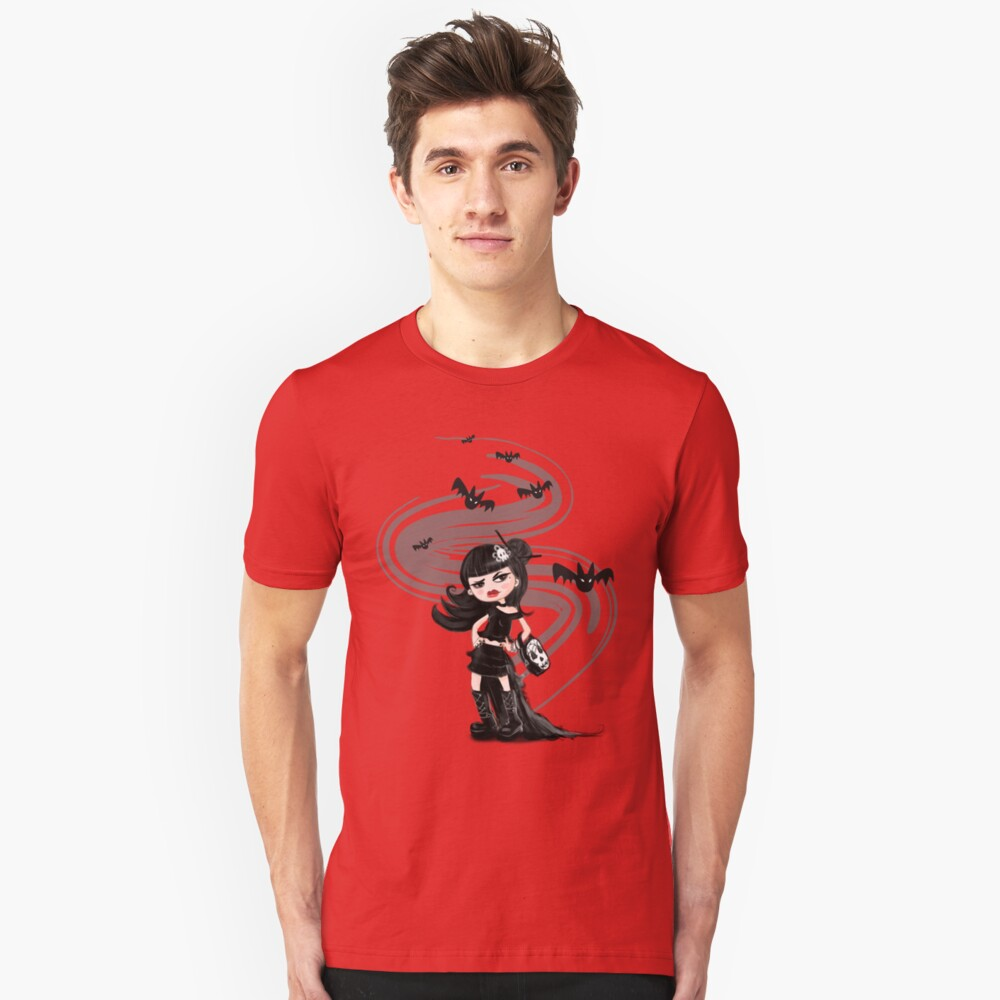 Girl in black with Bats Unisex T-Shirt Front