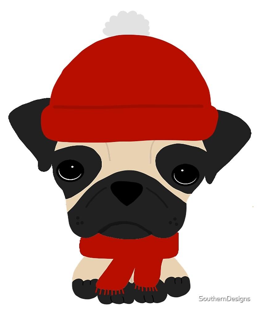 Fun Pug Dog Wearing Hat and Scarf