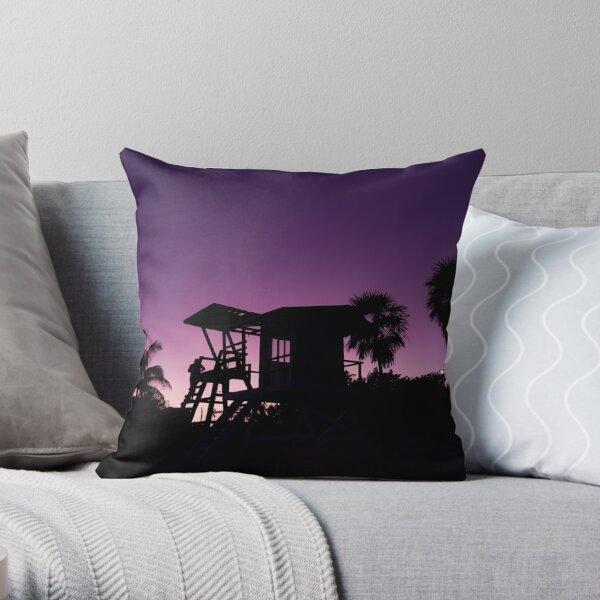 Baywatch tower silhouette sunset Throw Pillow