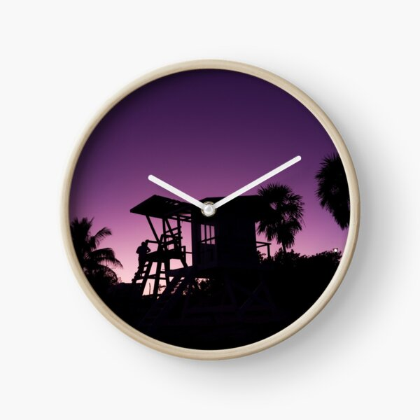 Baywatch tower silhouette sunset Clock