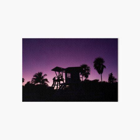 Baywatch tower silhouette sunset Art Board Print
