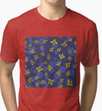 Yellow Bee Seamless Pattern on Blue Background Tri-blend T-Shirt