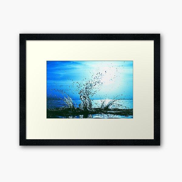 Blue water splash Framed Art Print