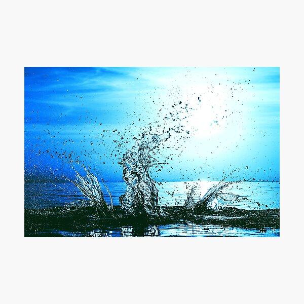 Blue water splash Photographic Print