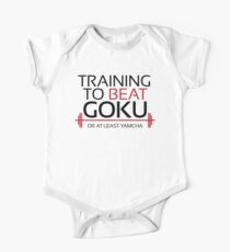 Training to beat Goku - Yamcha - Black Letters One Piece - Short Sleeve