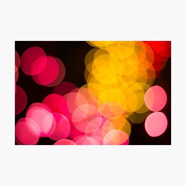 Bokeh abstract pink yellow circles Photographic Print