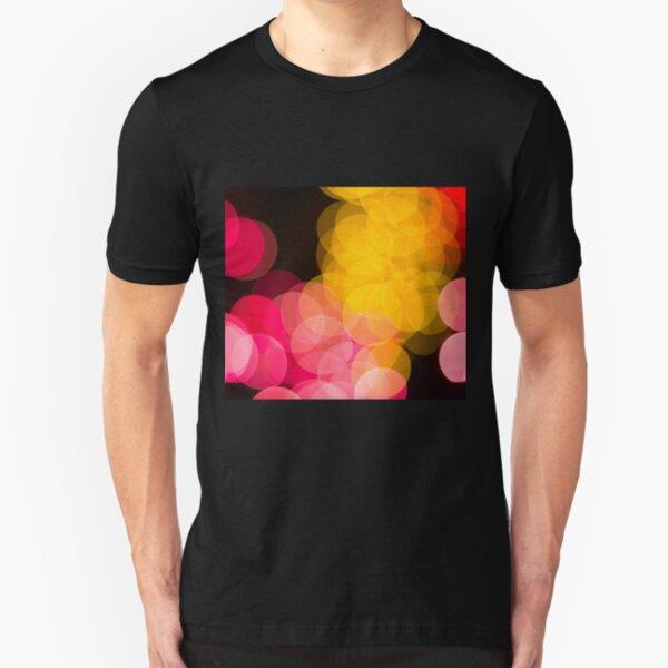 Bokeh abstract pink yellow circles Slim Fit T-Shirt
