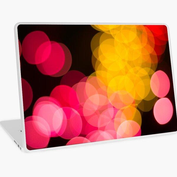 Bokeh abstract pink yellow circles Laptop Skin