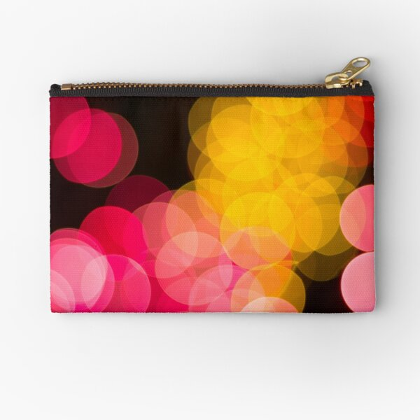 Bokeh abstract pink yellow circles Zipper Pouch