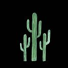 Three Beautiful Green Cacti Succulent on Black Design by DesertDecor