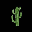 Beautiful Green Cacti Succulent on Black Design IV by DesertDecor