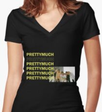 PRETTYMUCH Women's Fitted V-Neck T-Shirt