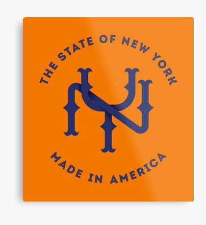 NY New York State Monogram Blue Metal Print