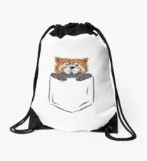 Red Panda Pocket Shirt Design Drawstring Bag