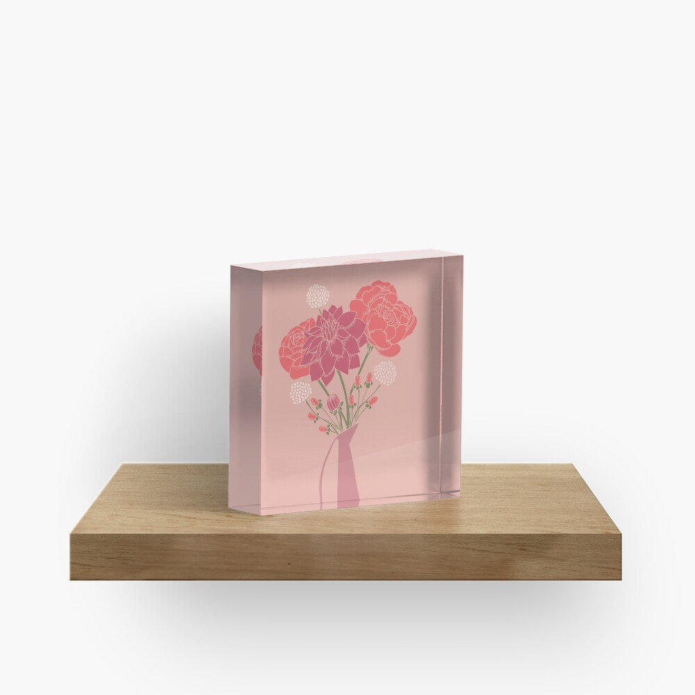 Pink Flower Bouquet in a Vase Acrylic Block