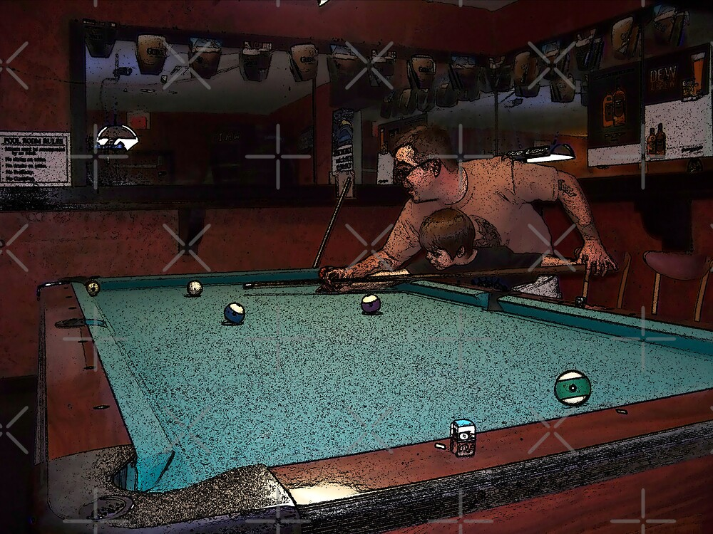 Father & Son at the Billiard Table by Aaron Taggert