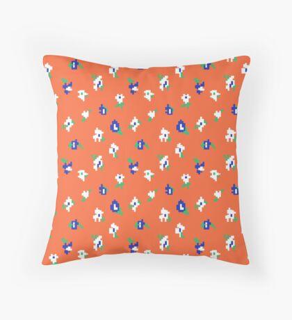 Orange Background with Small Flower Retro Pattern Throw Pillow