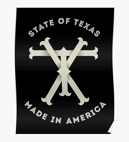 TX Texas Monogram Poster