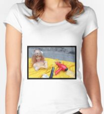 Doll on Yellow Women's Fitted Scoop T-Shirt