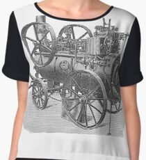 Ancient steam machine, steampunk, steampunk style, steampunk fashion, steampunk clothing, Cyberpunk, Dieselpunk, Fantasy, Science Fiction Chiffon Top