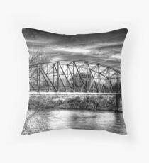Arkadelphia Bridge B&W 2 Throw Pillow