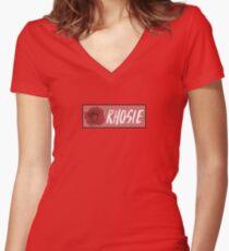 "Rho Psi Eta ""Rhosie"" - Salmon Rose Women's Fitted V-Neck T-Shirt"