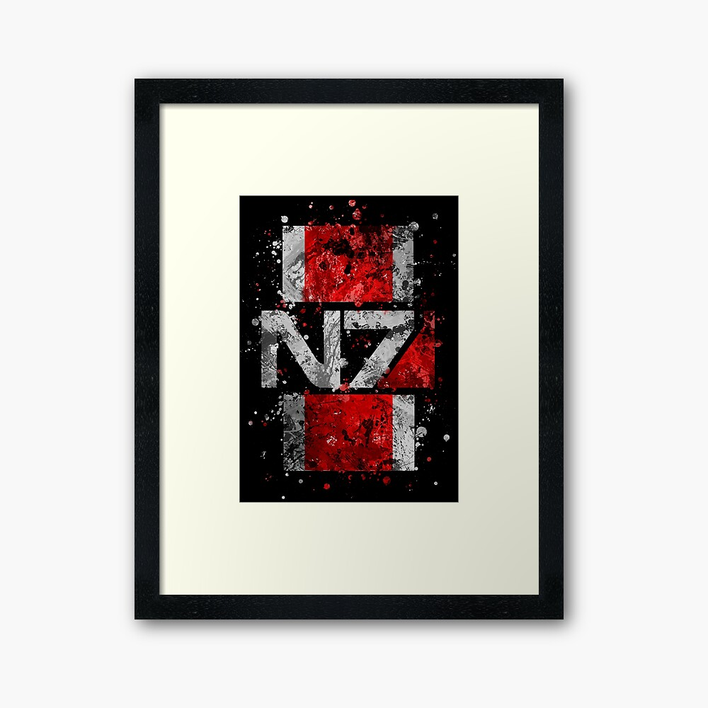 Mass Effect N7 Splatter  Framed Art Print