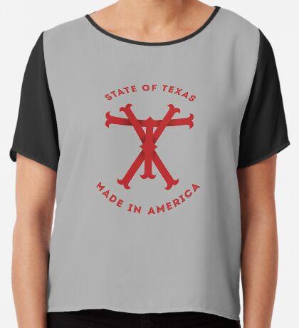 TX Texas Monogram Red Chiffon Top