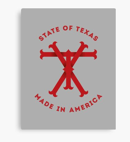 TX Texas Monogram Red Canvas Print