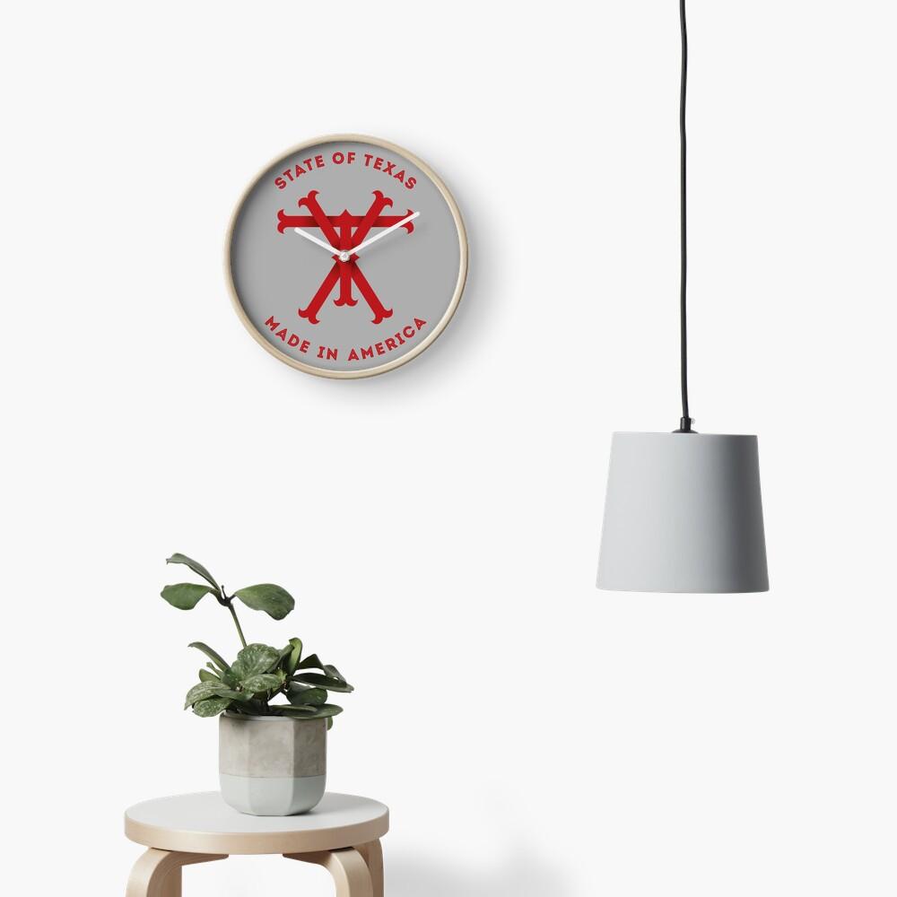 TX Texas Monogram Red Clock