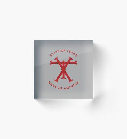 TX Texas Monogram Red Acrylic Block