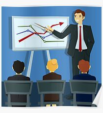 Business Presentation. Businessman Shows Statistics on Board.  Poster