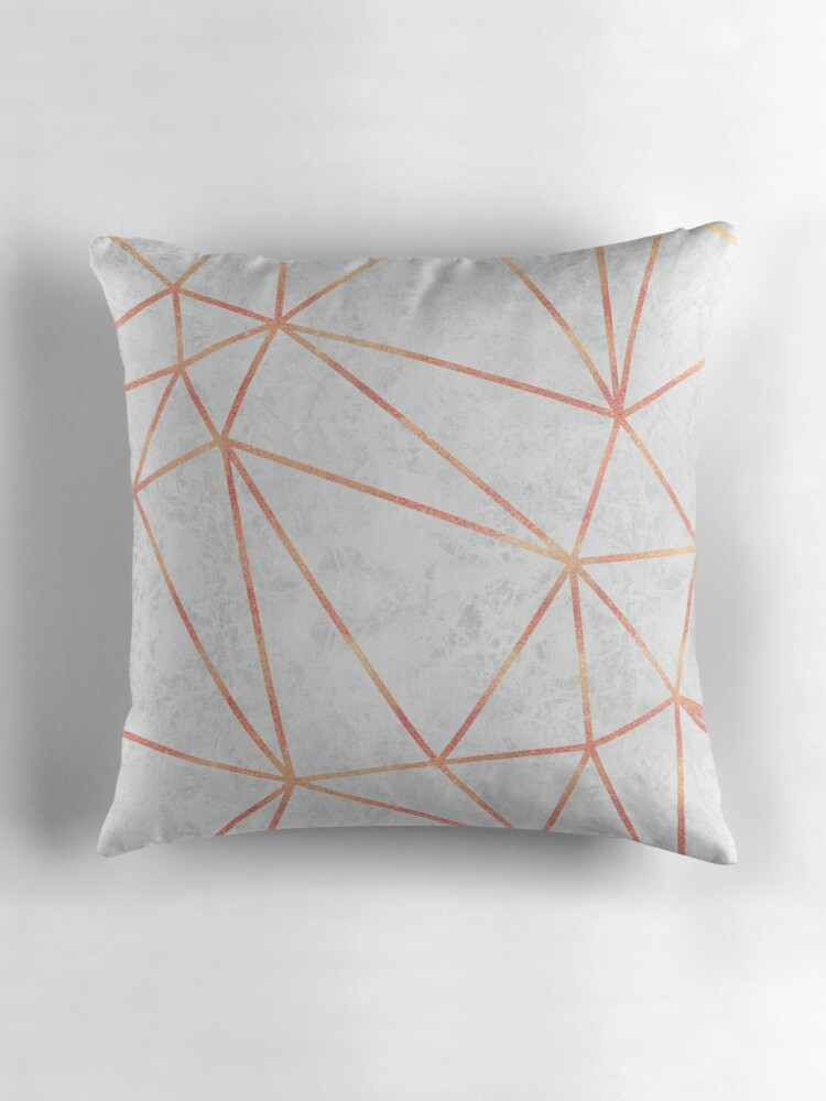 Quot Marble Geometric Rose Gold Design Quot Throw Pillows By