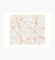 Marble Geometric Rose Gold Design Art Print